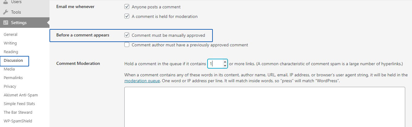 enable moderation for comments in wordpress