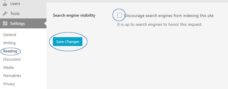 disable the discourage search engines check box in wordpress