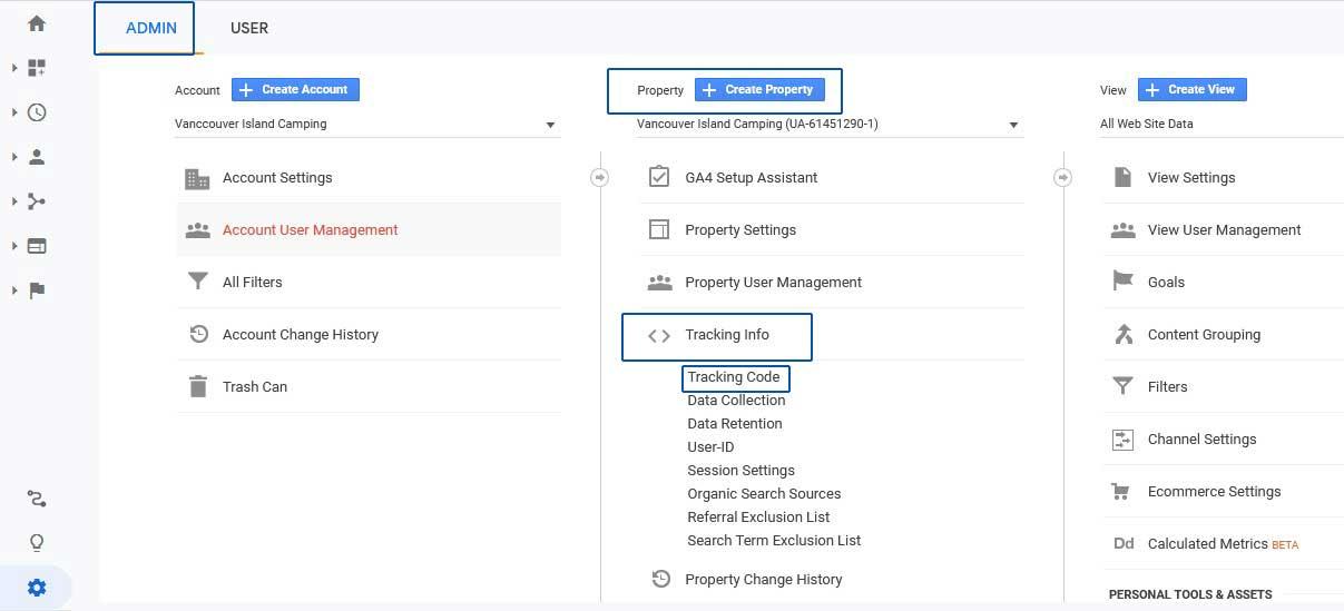 google analytics admin properties link